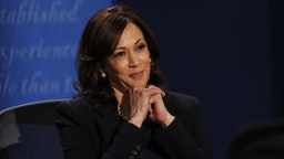 Senator Kamala Harris, Democratic vice presidential nominee, listens during the U.S. vice presidential debate at the University of Utah in Salt Lake City, Utah, U.S., on Wednesday, Oct. 7, 2020.