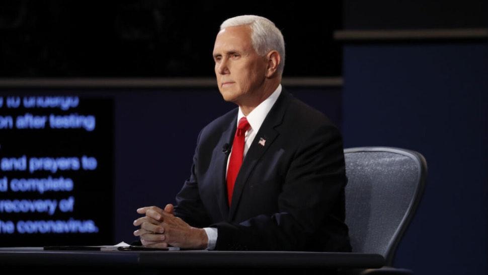 U.S. Vice President Mike Pence waits to begin the U.S. vice presidential debate at the University of Utah in Salt Lake City, Utah, U.S., on Wednesday, Oct. 7, 2020.