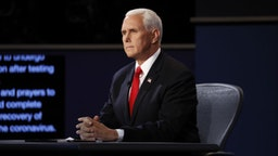 U.S. Vice President Mike Pence waits to begin the U.S. vice presidential debate at the University of Utah in Salt Lake City, Utah, U.S., on Wednesday, Oct. 7, 2020.