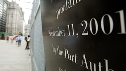NEW YORK - AUGUST 23: A memorial sign to September 11, 2001 is shown at the former World Trade Center site August 23, 2005 in New York City. The fourth anniversary of the terrorist attacks is approaching.