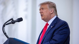 U.S. President Donald Trump delivers remarks during a news conference at the North Portico at the White House on September 07, 2020 in Washington, DC.