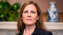 WASHINGTON, DC - OCTOBER 21: Supreme Court nominee Judge Amy Coney Barrett meets with U.S. Sen. Martha McSally (R-AZ) on October 21, 2020 in Washington, DC. President Donald Trump nominated Barrett to replace Justice Ruth Bader Ginsburg after her death.