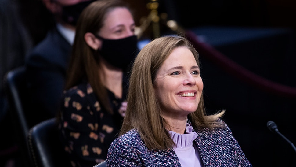 UNITED STATES - OCTOBER 14: Supreme Court justice nominee Amy Coney Barrett testifies on the third day of her Senate Judiciary Committee confirmation hearing in Hart Senate Office Building on Wednesday, October 14, 2020.