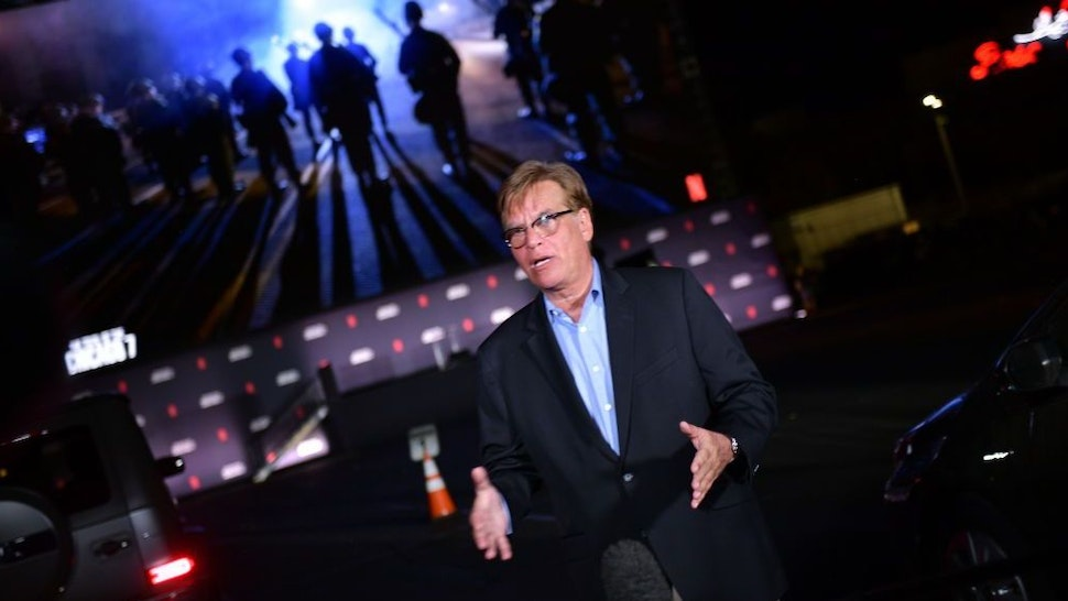 """Aaron Sorkin attends Netflix's """"The Trial of the Chicago 7"""" Los Angeles Drive In Event at the Rose Bowl on October 13, 2020 in Pasadena, California. (Photo by Matt Winkelmeyer/Getty Images for Netflix)"""