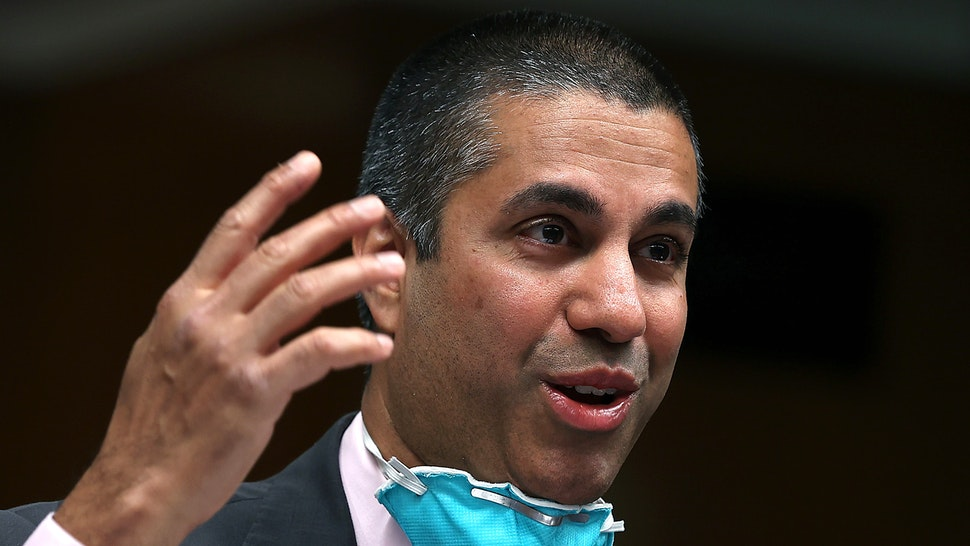 FCC Chairman, Ajit Pai, testifies during a Senate Appropriations Subcommittee hearing on Capitol Hill June 16, 2020 in Washington, DC. - The hearings focus is on oversight of the Federal Communications Commission spectrum auctions program for fiscal year 2021.