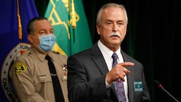 LOS ANGELES, CA - SEPTEMBER 30: Los Angeles County Sheriff Homicide Bureau Captain Kent A. Wegener, right, and Sheriff Alex Villanueva announce an arrest of Deonte Lee Murray in the ambush shooting of two on-duty deputies who were sitting in their marked patrol car at the Metro Blue Line station in Compton September 12, 2020. Hall Of Justice on Wednesday, Sept. 30, 2020 in Los Angeles, CA.
