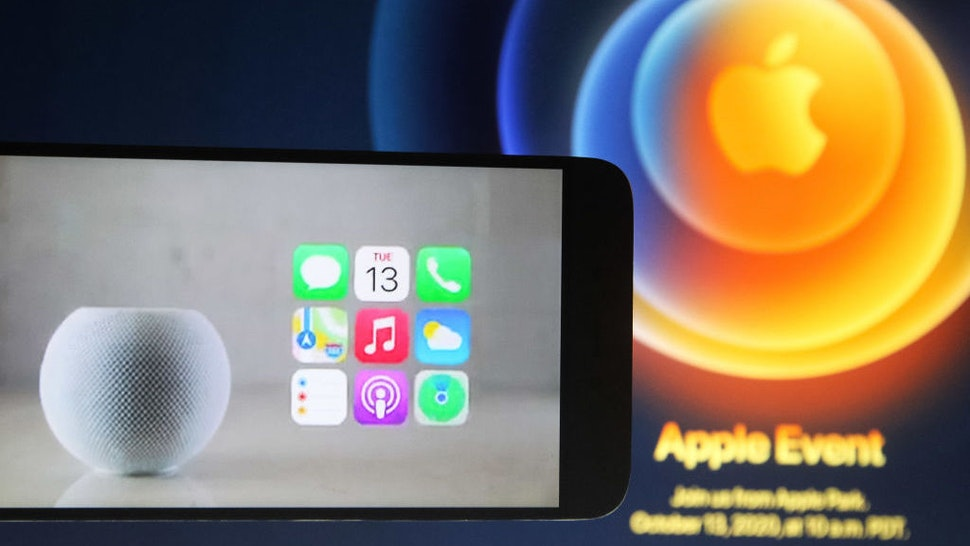 In this photo illustration a screenshot from Apple's launch promotional material of the the new HomePod Mini is seen displayed on a smartphone screen. (Photo Illustration by Pavlo Gonchar/SOPA Images/LightRocket via Getty Images)