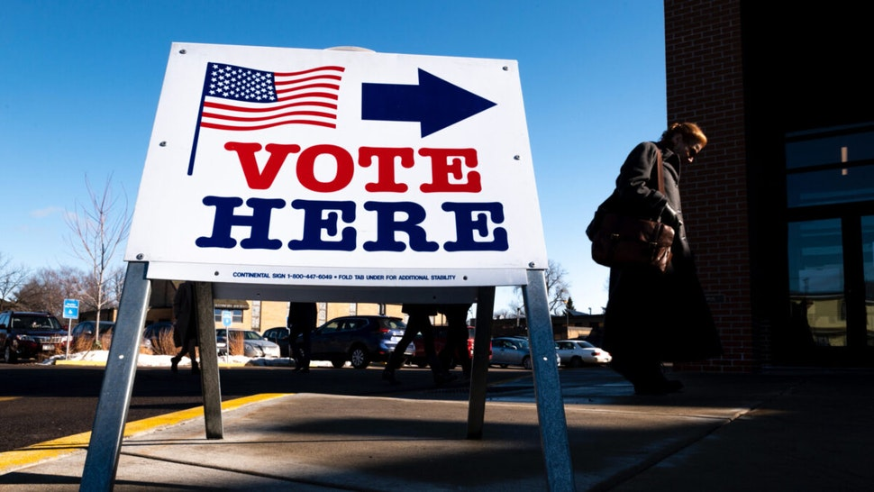 A voter arrives at a polling place on March 3, 2020 in Minneapolis, Minnesota.