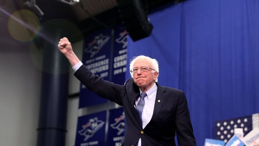 MANCHESTER, NEW HAMPSHIRE - FEBRUARY 11: Democratic presidential candidate Sen. Bernie Sanders (I-VT) takes the stage during a primary night event on February 11, 2020 in Manchester, New Hampshire. New Hampshire voters cast their ballots today in the first-in-the-nation presidential primary.