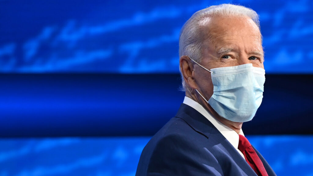 Democratic Presidential candidate and former US Vice President Joe Biden participates in an ABC News town hall event at the National Constitution Center in Philadelphia on October 15, 2020.