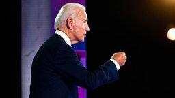 Democratic presidential nominee and former Vice President Joe Biden participates in an NBC Town Hall event at the Perez Art Museum in Miami, Florida on October 5, 2020.