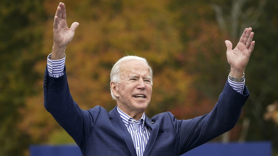 BRISTOL, PA - OCTOBER 24: Democratic presidential nominee Joe Biden speaks during a drive-in campaign rally at Bucks County Community College on October 24, 2020 in Bristol, Pennsylvania. Biden is making two campaign stops in the battleground state of Pennsylvania on Saturday.