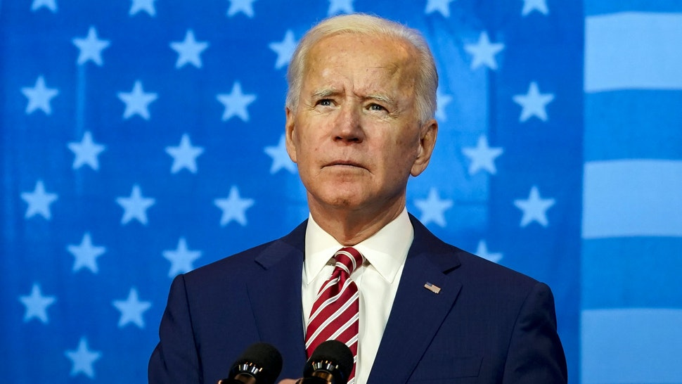 WILMINGTON, DE - OCTOBER 23: Democratic presidential nominee Joe Biden speaks about his plans for combatting the coronavirus pandemic at The Queen theater on October 23, 2020 in Wilmington, Delaware. While Biden campaigns in Delaware on Friday, President Donald Trump is holding two rallies in the battleground state of Florida.