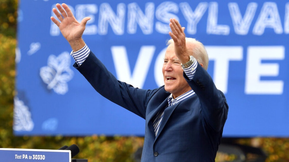 Democratic presidential candidate Joe Biden speaks at a drive-in rally on the Bucks County Community College's Lower Bucks campus in Bristol, Pennsylvania, on October 24, 2020.