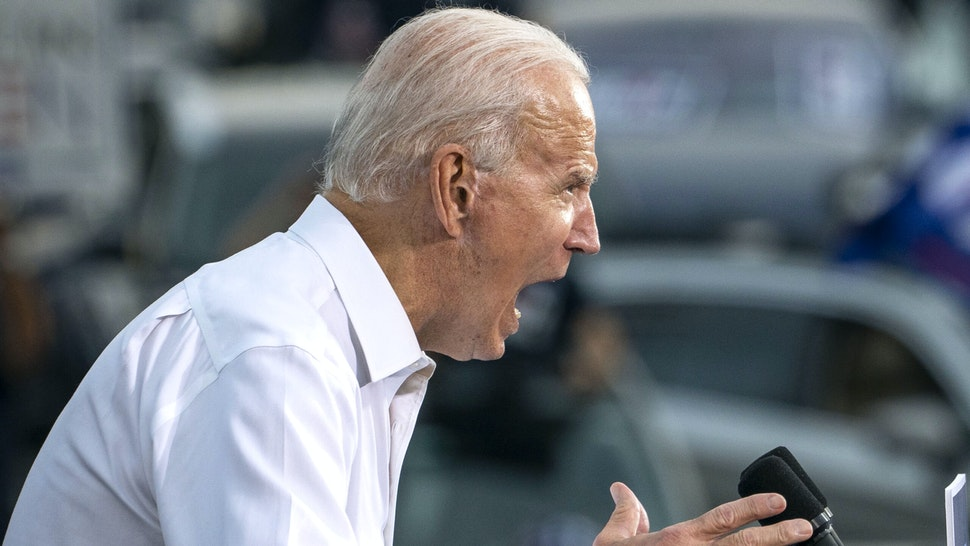 ATLANTA, GA - OCTOBER 27: Democratic presidential nominee Joe Biden speaks during a drive-in campaign rally in the parking lot of Cellairis Ampitheatre on October 27, 2020 in Atlanta, Georgia. Biden is campaigning in Georgia on Tuesday, with scheduled stops in Atlanta and Warm Springs.