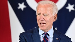 Democratic Presidential candidate and former Vice President Joe Biden delivers remarks at a voter mobilization event in Cincinnati, Ohio, on October 12, 2020, where he will speak to the importance of Ohioans making their voices heard this election.