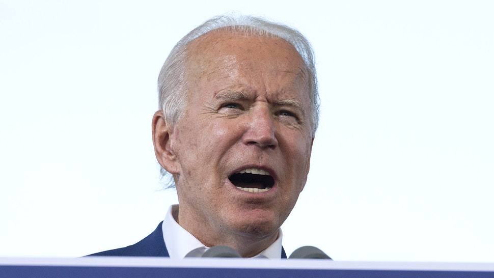 "Democratic Presidential Candidate Joe Biden speaks during a drive in rally in Miramar, Florida on October 13, 2020. - Joe Biden headed for Florida to court elderly Americans who helped elect Donald Trump four years ago but appear to be swinging to the Democratic candidate for the White House this time around amid the coronavirus pandemic. Biden, at 77 the oldest Democratic nominee ever, is to ""deliver his vision for older Americans"" at an event in the city of Pembroke Pines, north of Miami, his campaign said."