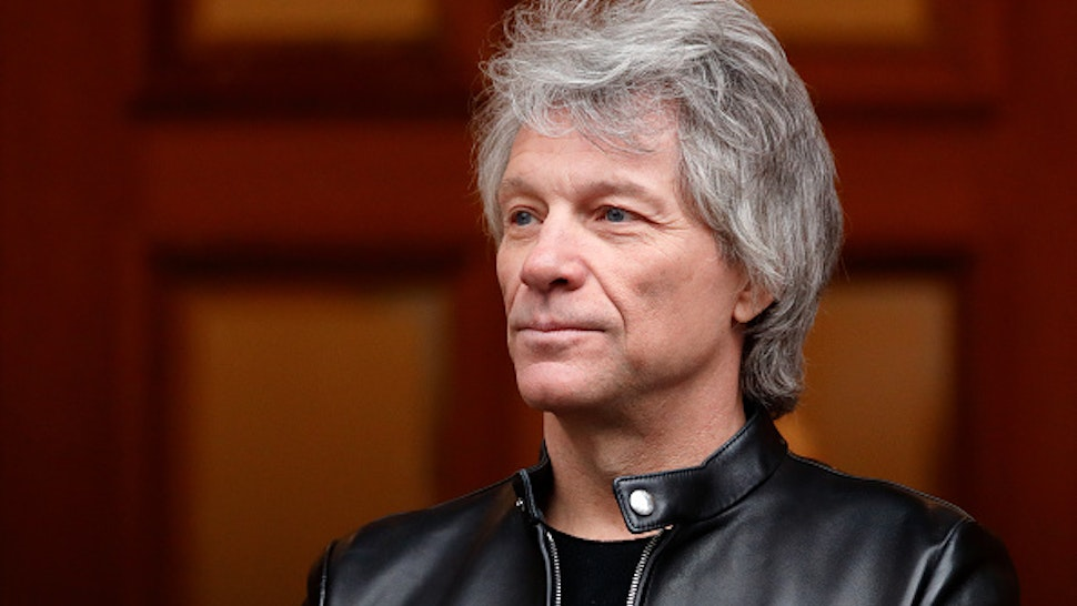 LONDON, UNITED KINGDOM - FEBRUARY 28: (EMBARGOED FOR PUBLICATION IN UK NEWSPAPERS UNTIL 24 HOURS AFTER CREATE DATE AND TIME) Jon Bon Jovi awaits the arrival of Prince Harry, Duke of Sussex at the Abbey Road Studios where the Invictus Games Choir are recording a special single in aid of the Invictus Games Foundation on February 28, 2020 in London, England.