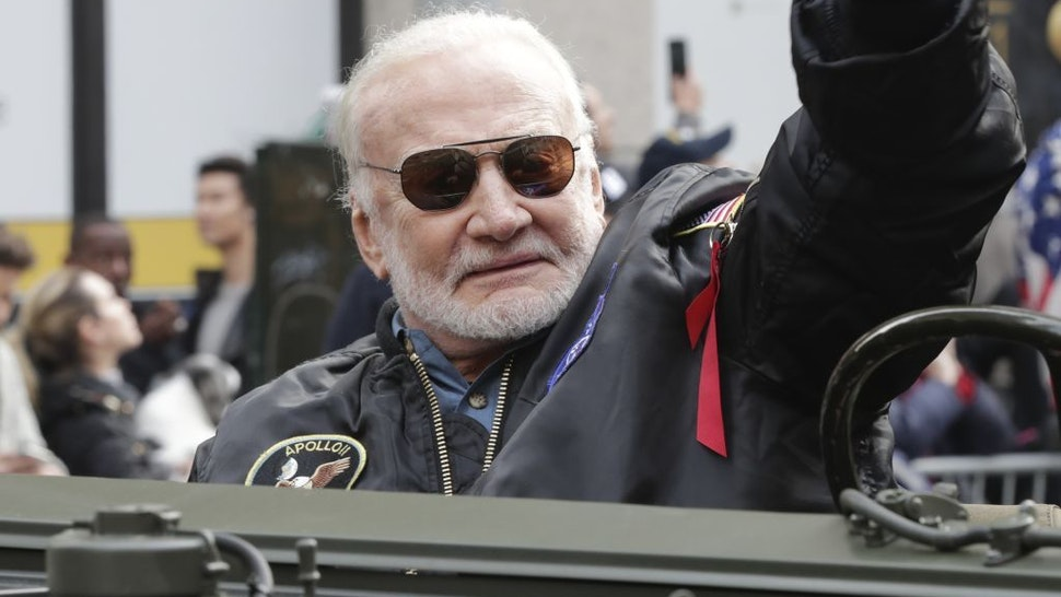 Buzz Aldrin, Apollo 11 astronaut, during a parade to celebrate Veterans' Day on Fifth Avenue in New York City, November 11, 2019. (Photo by EuropaNewswire/Gado/Getty Images)