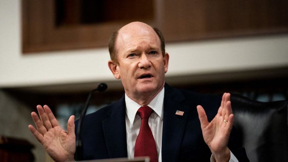 """WASHINGTON, DC - AUGUST 5: Sen. Chris Coons (D-DE) speaks during a Senate Judiciary Committee hearing on """"oversight of the crossfire hurricane investigation"""" on Capitol Hill on August 5, 2020 in Washington, DC. (Photo by Erin Schaff - Pool/Getty Images)"""