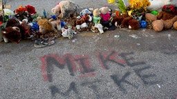 A memorial for Michael Brown on the spot where he was killed.