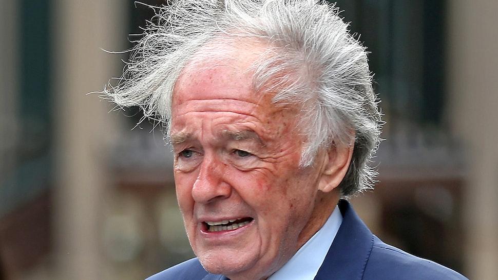 "JAMAICA PLAIN, MA. - SEPTEMBER 18: Senator Ed Markey""u2019s hair blows in the wind as he speaks at the Boston Teachers Union Pilot School on September 18, 2020 in Jamaica Plain, Massachusetts."