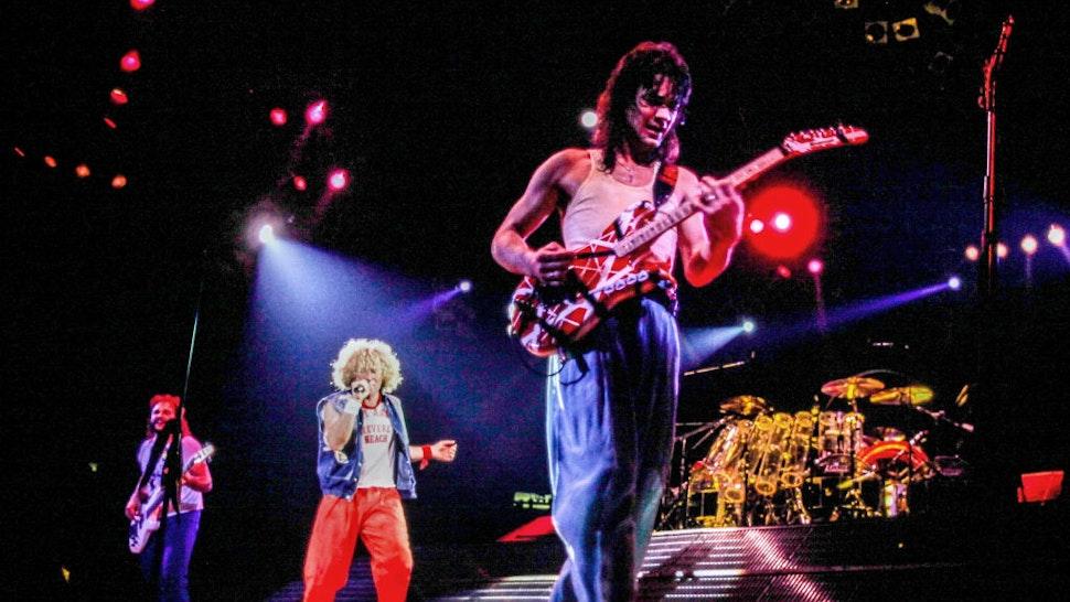 Michael Anthony, Sammy Hagar, Eddie Van Halen perform at the Boston Garden, Boston, MA on August 14, 1986 (Ron Pownall/Getty Images)