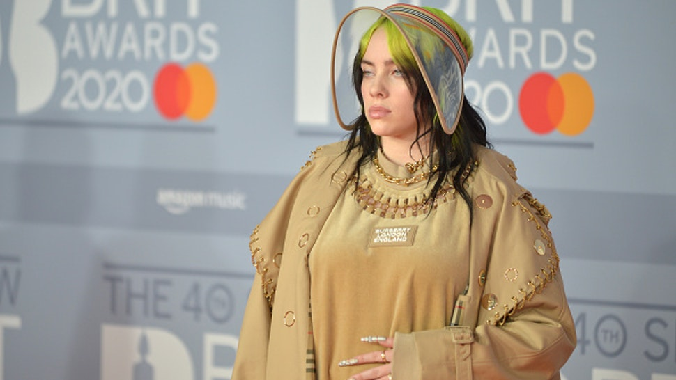 LONDON, ENGLAND - FEBRUARY 18: (EDITORIAL USE ONLY) Billie Eilish attends The BRIT Awards 2020 at The O2 Arena on February 18, 2020 in London, England.