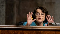 "WASHINGTON, DC - AUGUST 05: Ranking Member Sen. Dianne Feinstein (D-CA) speaks during a Senate Judiciary Committee hearing on ""Oversight of the Crossfire Hurricane Investigation"" on Capitol Hill on August 5, 2020 in Washington, DC. Crossfire Hurricane was an FBI counterintelligence investigation relating to contacts between Russian officials and associates of Donald Trump."