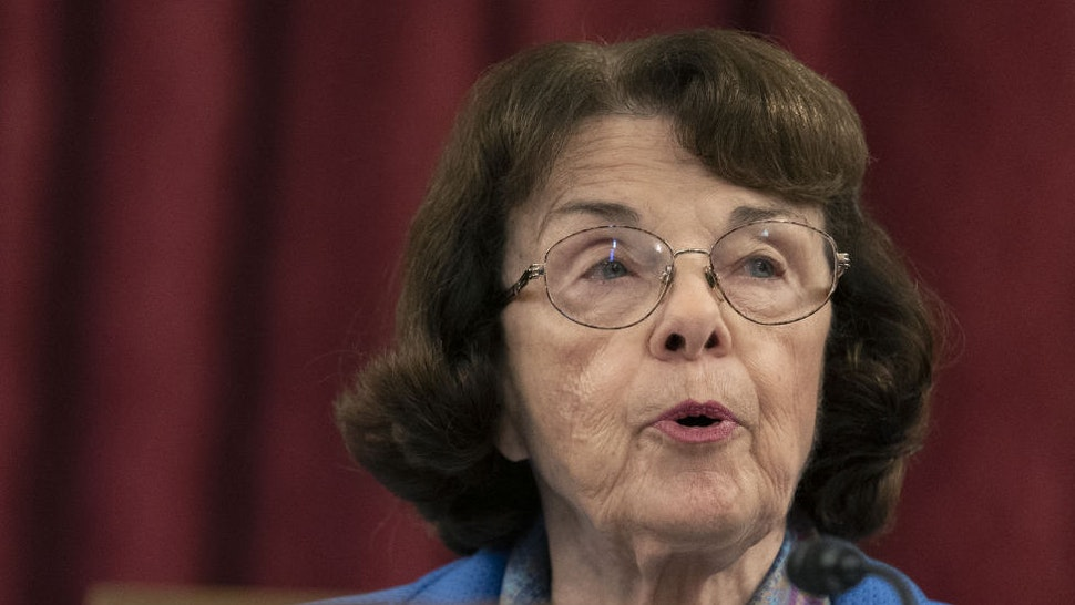 Senator Dianne Feinstein, a Democrat from California and ranking member of the Senate Judiciary Committee, speaks during a business meeting in Washington, D.C., U.S., on Thursday, Oct. 1, 2020. Democrats on the Senate Judiciary Committee plan to ask Supreme Court nominee Amy Coney Barrett during her confirmation hearings whether she would refuse to take part in matters related to the election if she's confirmed in time, according to a Senate Democratic aide.