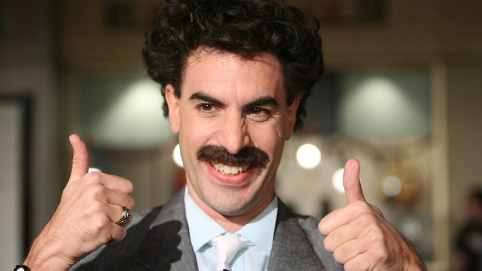 """Sacha Baron Cohen as Borat during """"Borat: Cultural Learnings of America For Make Benefit Glorious Nation of Kazakhstan"""" Premiere - Arrivals at Grauman's Chinese Theater in Hollywood, California, United States."""