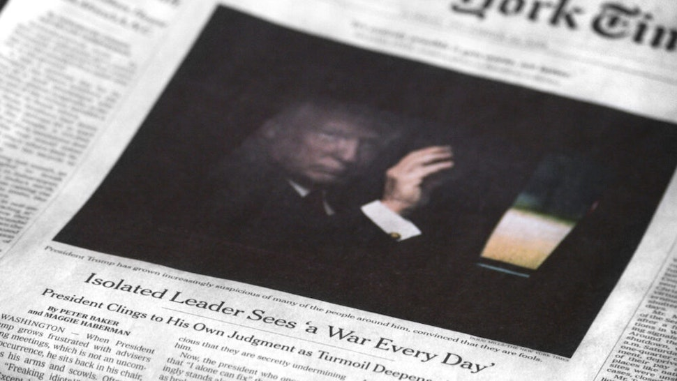 SANTA FE, NEW MEXICO - DECEMBER 24, 2018: A copy of the December 23, 2018 edition of The New York Times features a front-page article by Peter Baker and Maggie Haberman referring to U.S. President Donald Trump as an isolated leader who sees 'a war every day.'