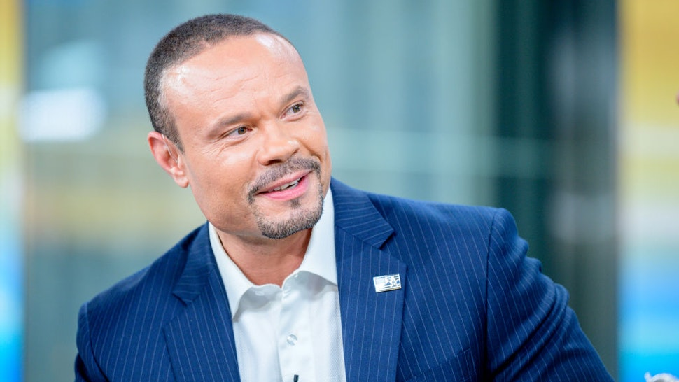 "Host Dan Bongino as US Open winner Gary Woodland visits ""FOX & Friends"" at Fox News Channel Studios on June 18, 2019 in New York City."