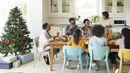 Family and friends talking while enjoying meal - stock photo