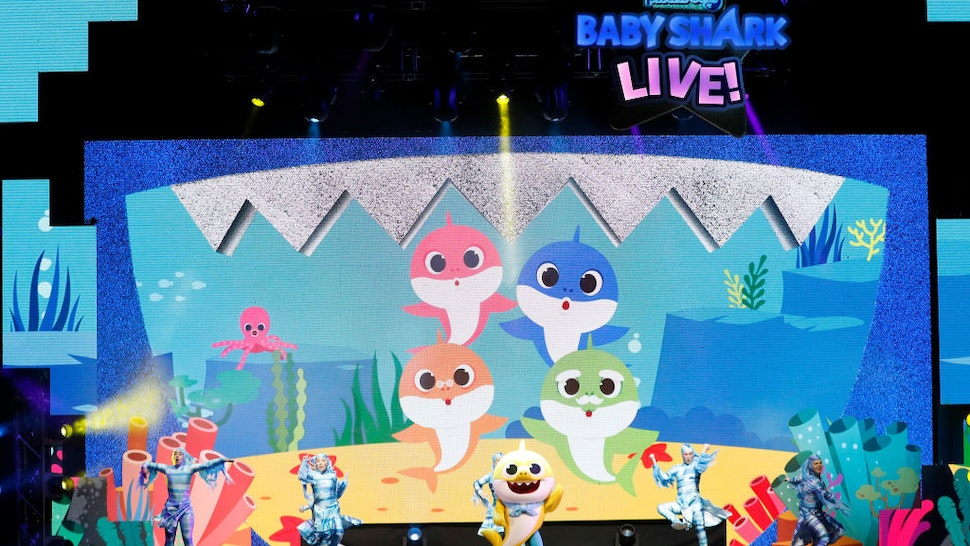 "Baby Shark performs during ""Pinkfong Baby Shark Live!"" presented by Pinkfong at Kings Theatre on November 08, 2019 in Brooklyn, New York"