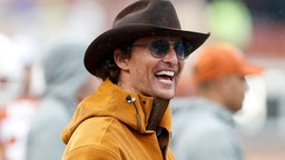 Actor Matthew McConaughey watches on the Texas Longhorns sideline in the second half against the Texas Tech Red Raiders at Darrell K Royal-Texas Memorial Stadium on November 29, 2019 in Austin, Texas.