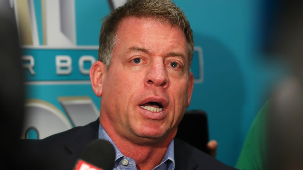 Former NFL player and Lead NFL Game Analyst Troy Aikman answers questions during the Super Bowl LIV FOX Sports Media Day on January 28, 2020 at the Miami Beach Convention Center in Miami Beach, FL.