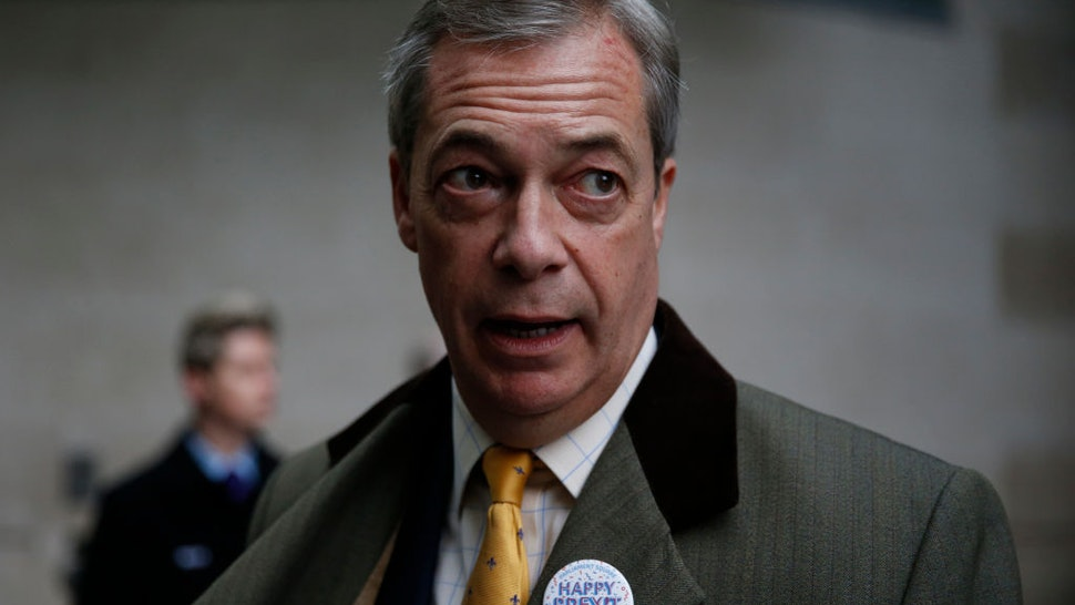 Brexit Party leader and former MEP, Nigel Farage arrives to appear on the Andrew Marr Show at BBC Television Centre on February 2, 2020 in London, England.