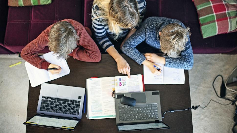 Mother homeschooling her children - stock photo