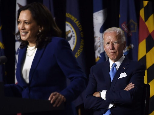 TOPSHOT - Democratic vice presidential running mate, US Senator Kamala Harris, speaks as Democratic presidential nominee and former US Vice President Joe Biden during the first press conference with Joe Biden in Wilmington, Delaware, on August 12, 2020.
