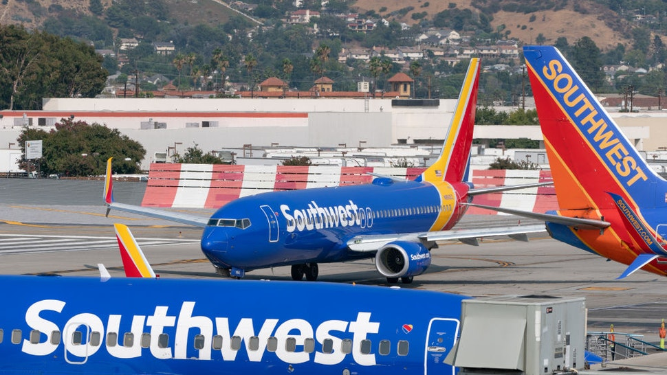 Southwest Airlines Boeing 737-800 takes off from Hollywood Burbank Airport on September 16, 2020 in Burbank, California.