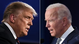 TOPSHOT - (COMBO) This combination of pictures created on September 29, 2020 shows US President Donald Trump (L) and Democratic Presidential candidate former Vice President Joe Biden squaring off during the first presidential debate at the Case Western Reserve University and Cleveland Clinic in Cleveland, Ohio on September 29, 2020. (Photos by JIM WATSON and SAUL LOEB / AFP)