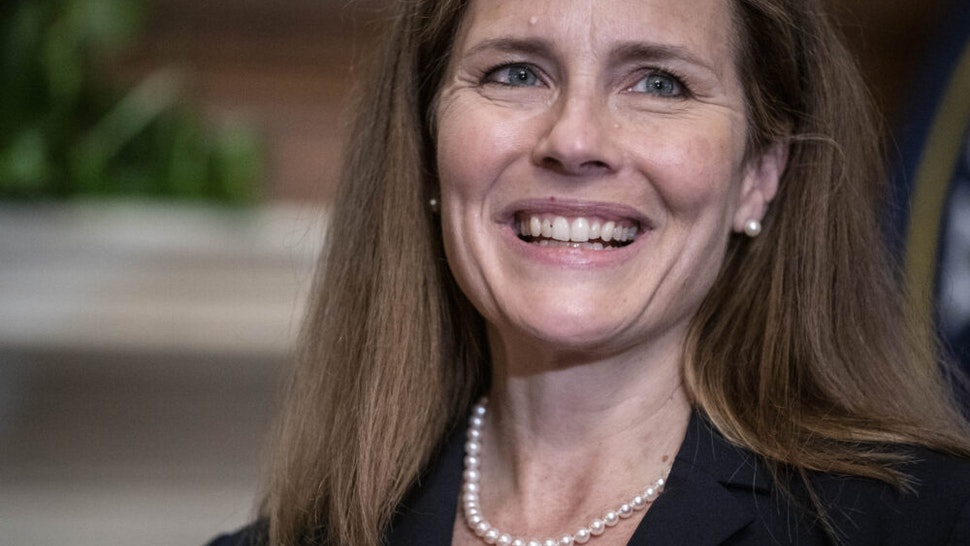WASHINGTON, DC - SEPTEMBER 30: Seventh U.S. Circuit Court Judge Amy Coney Barrett, President Donald Trump's nominee for the U.S. Supreme Court, meets with Sen. Shelley Moore Capito (R-WV) at the U.S. Capitol on September 30, 2020 in Washington, DC. Barrett is meeting with senators ahead of her confirmation hearing which is scheduled to begin on October 12, less than a month before Election Day.