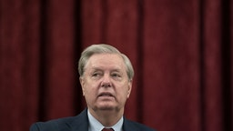 Senator Lindsey Graham, a Republican from South Carolina and chairman of the Senate Judiciary Committee, arrives to a business meeting in Washington, D.C., U.S., on Thursday, Oct. 1, 2020.