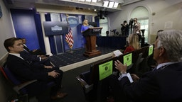 Kayleigh McEnany, White House press secretary, speaks during a news conference in the James S. Brady Press Briefing Room at the White House in Washington, D.C., U.S., on Thursday, Oct. 1, 2020.