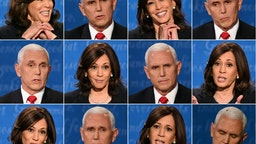 This combination of pictures created on October 07, 2020 shows US Democratic vice presidential nominee and Senator from California Kamala Harris and US Vice President Mike Pence during the vice presidential debate in Kingsbury Hall at the University of Utah on October 7, 2020, in Salt Lake City, Utah.