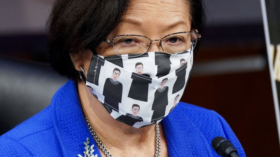 U.S. Sen. Mazi Hirono (D-HI) wears a Ruth Bader Ginsburg face mask during the Senate Judiciary Committee confirmation hearing for Supreme Court Justice on Capitol Hill on October 12, 2020 in Washington, DC.