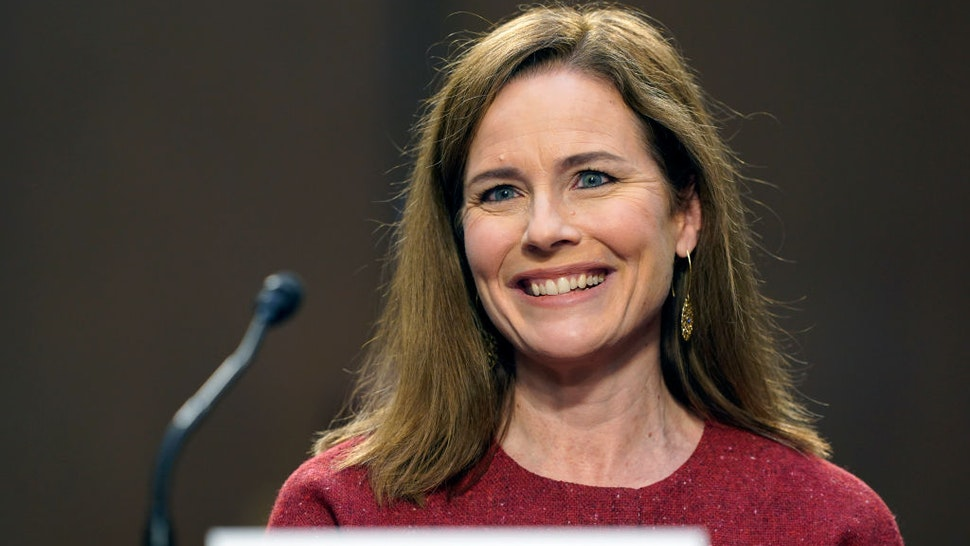 Supreme Court nominee Judge Amy Coney Barrett speaks on the second day of her Supreme Court confirmation hearing before the Senate Judiciary Committee on Capitol Hill on October 13, 2020 in Washington, DC.