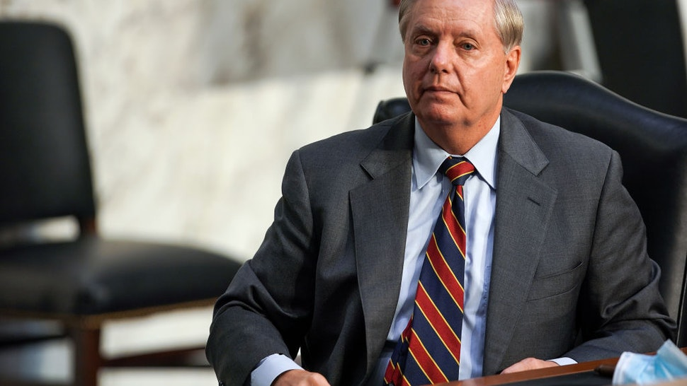 Lindsey Graham (R-SC) is seen during the Senate Judiciary Committee on the second day of Amy Coney Barrett's Supreme Court confirmation hearing on Capitol Hill on October 13, 2020 in Washington, DC.