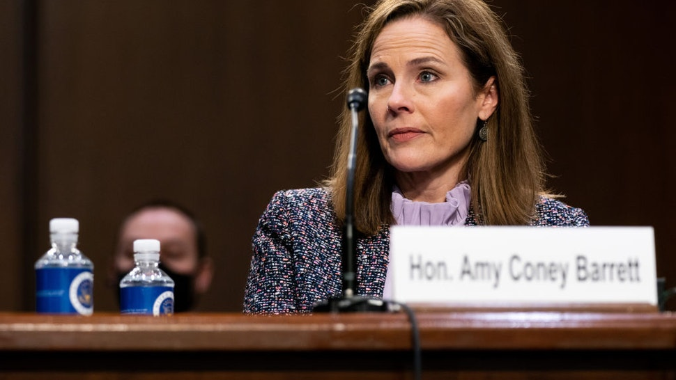 Supreme Court nominee Judge Amy Coney Barrett testifies before the Senate Judiciary Committee on the third day of her Supreme Court confirmation hearing on Capitol Hill on October 14, 2020 in Washington, DC.